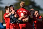 20 March 2016; Monkstown players celebrate at the end of the game. Irish Senior Men's Cup Final, Lisnagarvey v Monkstown, National Hockey Stadium, UCD, Belfield, Dublin. Picture credit: Paul Mohan / SPORTSFILE