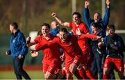 20 March 2016; David Carson, left, and Kyle Good, Monkstown, celebrates at the end of the game. Irish Senior Men's Cup Final, Lisnagarvey v Monkstown, National Hockey Stadium, UCD, Belfield, Dublin. Picture credit: Paul Mohan / SPORTSFILE