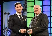 20 March 2016; Brighton and Hove Albion's Richie Towell is presented with the SSE Airtricity League Player of the Year by FAI President Tony Fitzgerald. 3 FAI International Soccer Awards. RTE, Donnybrook, Dublin. Picture credit: David Maher / SPORTSFILE
