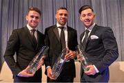 20 March 2016; Republic of Ireland's Jonathan Walters, winner of  the 3 FAI Senior International  Player of the year with Republic of Ireland's Robbie Brady, left, winner of the 3 FAI International Young player of the year Award and Brighton and Hove Albion's Richie Towell, winner of  the SSE Airtricity League Player of the Year. 3 FAI International Soccer Awards. RTE, Donnybrook, Dublin. Picture credit: David Maher / SPORTSFILE