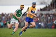 20 March 2016; Conor Ryan, Clare, in action against Tom Morrissey, Limerick. Allianz Hurling League, Division 1B, Round 5, Clare v Limerick. Cusack Park, Ennis, Co. Clare. Picture credit: Diarmuid Greene / SPORTSFILE