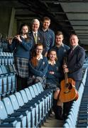 """22 March 2016; """"Song to Commemorate 1916"""", a competition organised by the GAA National Scór Committee for Second Level Schools as its contribution to 1916. Students from Coláiste Bhríde Carnew, Co. Wicklow, who were winners of the GAA Scór Song to Commemorate 1916 Competition. Pictured with Uachtarán Chumann Lúthchleas Aogán Ó Fearghail are students, from left, Fiona Doyle, Jacqui Whelan, Ciara Jordan, and Paddy Doyle, deputy principal Denis Finn, and Tony Smith, right, chairman of the National Scór Committee. Croke Park, Dublin. Picture credit: Paul Mohan / SPORTSFILE"""