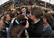18 March 2016; Trainer Joseph O'Brien is interviewed after Ivanovich Gorbatov, with Barry Geraghty up, won the JCB Triumph Hurdle. Prestbury Park, Cheltenham, Gloucestershire, England. Picture credit: Cody Glenn / SPORTSFILE