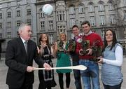 19 March 2010; Two new names were added to the GAA  Player of the Month Awards list as towering Dublin midfielder Eamonn Fennell and Galway hurling's high scoring Iarla Tannian today became the first 2010 recipients of the the awards, sponsored by Vodafone. The ceremony also saw the two leading ladies from last year's camogie and ladies football seasons, Kilkenny's Anne Dalton and Cork's Angela Walsh, respectively, honoured with their 2009 Player of the Year awards. At the awards are Christine Heffernan, Interim Head of Corporate Affairs, Vodafone, and Uachtarán CLG Criostóir Ó Cuana, with from right, Kilkenny camogie star Anne Dalton, Galway hurler Iarla Tannian, Dublin's Eamonn Fennell, and Cork ladies footballer Angela Walsh. Westbury Hotel, Dublin. Picture credit: Brian Lawless / SPORTSFILE