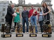 19 March 2010; Two new names were added to the GAA  Player of the Month Awards list as towering Dublin midfielder Eamonn Fennell and Galway hurling's high scoring Iarla Tannian today became the first 2010 recipients of the the awards, sponsored by Vodafone. The ceremony also saw the two leading ladies from last year's camogie and ladies football seasons, Kilkenny's Anne Dalton and Cork's Angela Walsh, respectively, honoured with their 2009 Player of the Year awards. At the awards are Christine Heffernan, Interim Head of Corporate Affairs, Vodafone, right, and Uachtarán CLG Criostóir Ó Cuana, with from right, Kilkenny camogie star Anne Dalton, Galway hurler Iarla Tannian, Dublin's Eamonn Fennell, and Cork ladies footballer Angela Walsh. Westbury Hotel, Dublin. Picture credit: Brian Lawless / SPORTSFILE