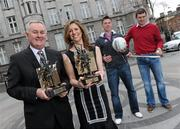 19 March 2010; Two new names were added to the GAA  Player of the Month Awards list as towering Dublin midfielder Eamonn Fennell and Galway hurling's high scoring Iarla Tannian today became the first 2010 recipients of the the awards, sponsored by Vodafone. The ceremony also saw the two leading ladies from last year's camogie and ladies football seasons, Kilkenny's Anne Dalton and Cork's Angela Walsh, respectively, honoured with their 2009 Player of the Year awards. At the awards are Christine Heffernan, Interim Head of Corporate Affairs, Vodafone, right, and Uachtarán CLG Criostóir Ó Cuana, with Galway hurler Iarla Tannian, right, and Dublin's Eamonn Fennell. Westbury Hotel, Dublin. Picture credit: Brian Lawless / SPORTSFILE