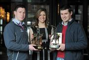 19 March 2010; Two new names were added to the GAA  Player of the Month Awards list as towering Dublin midfielder Eamonn Fennell and Galway hurling's high scoring Iarla Tannian today became the first 2010 recipients of the the awards, sponsored by Vodafone. The ceremony also saw the two leading ladies from last year's camogie and ladies football seasons, Kilkenny's Anne Dalton and Cork's Angela Walsh, respectively, honoured with their 2009 Player of the Year awards. At the awards is Christine Heffernan, Interim Head of Corporate Affairs, Vodafone, with Galway hurler Iarla Tannian, right, and Dublin's Eamonn Fennell. Westbury Hotel, Dublin. Picture credit: Brian Lawless / SPORTSFILE