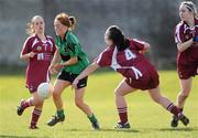 21 March 2010; Grainne McNally, QUB, in action against, from left, Caitriona Cormican, Tracy O'Hara, and Lisa McGowan, NUIG. O'Connor Shield Final, Queen's University Belfast v National University of Ireland, Galway, St Clare's, DCU, Ballymun, Dublin. Picture credit: Brian Lawless / SPORTSFILE
