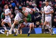 26 March 2016; Denis Buckley, Connacht, is tackled by Jamie Heaslip, Leinster. Guinness PRO12, Round 18, Connacht v Leinster, Sportsground, Galway. Picture credit: Stephen McCarthy / SPORTSFILE