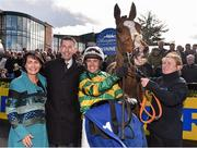 27 March 2016; Barry Geraghty and his wife Kiva Cromwell with Jer's Girl and trainer Gavin Cromwell after winning the Irish Stallions Farms European Breeders Fund Mares Novice Hurdle Championship Final. Horse Racing at the Fairyhouse Easter Festival. Fairyhouse, Co. Meath. Picture credit: Cody Glenn / SPORTSFILE