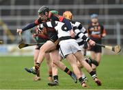 28 March 2016; Peter Casey, Ard Scoil Ris, Limerick, in action against Darren Mullen, St. Kiernan's College, Kilkenny. Masita GAA All Ireland Post Primary Schools Croke Cup Final, Ard Scoil Ris, Limerick v St Kieran's College, Kilkenny. Semple Stadium, Thurles, Co. Tipperary. Picture credit: Paul Mohan / SPORTSFILE