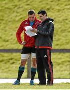 29 March 2016; Munster's Tommy O'Donnell in conversation with lead physiotherapist Shea McAleer during squad training. Munster Rugby Squad Training and Press Conference. University of Limerick, Limerick. Picture credit: Diarmuid Greene / SPORTSFILE