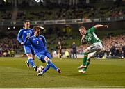 29 March 2016; Jonny Hayes, Republic of Ireland, has his cross blocked by Peter Pekarí, Slovakia. 3 International Friendly, Republic of Ireland v Slovakia. Aviva Stadium, Lansdowne Road, Dublin. Picture credit: Ramsey Cardy / SPORTSFILE