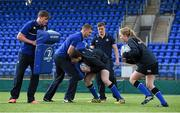30 March 2016; Leinster Rugby stars, from left, Garry Ringrose, Ross Molony and Josh van der Flier and Ross Molony are joined by Caoimhe Power, age 16, Navan RFC, and Sean Dunne, age 16, Lansdowne FC, at Donnybrook Stadium to mark the launch of the Bank of Ireland Leinster Rugby School of Excellence which will run in The King's Hospital School, Palmerstown in July and August. Go to http://www.leinsterrugby.ie/domestic/SoE/leinster_school_of_excellence.php for more information. Donnybrook Stadium, Donnybrook, Dublin. Picture credit: Brendan Moran / SPORTSFILE