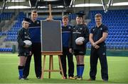 30 March 2016; Leinster Rugby stars, from left, Ross Molony, Garry Ringrose, Josh van der Flier are joined by Caoimhe Power, age 16, Navan RFC, and Sean Dunne, 2nd from right, age 16, Lansdowne FC, at Donnybrook Stadium to mark the launch of the Bank of Ireland Leinster Rugby School of Excellence which will run in The King's Hospital School, Palmerstown in July and August. Go to http://www.leinsterrugby.ie/domestic/SoE/leinster_school_of_excellence.php for more information. Donnybrook Stadium, Donnybrook, Dublin. Picture credit: Brendan Moran / SPORTSFILE