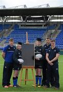 30 March 2016; Leinster Rugby stars, from left, Garry Ringrose, Ross Molony and Josh van der Flier are joined by Caoimhe Power, age 16, Navan RFC, and Sean Dunne, 3rd from left, age 16, Lansdowne FC, at Donnybrook Stadium to mark the launch of the Bank of Ireland Leinster Rugby School of Excellence which will run in The King's Hospital School, Palmerstown in July and August. Go to http://www.leinsterrugby.ie/domestic/SoE/leinster_school_of_excellence.php for more information. Donnybrook Stadium, Donnybrook, Dublin. Picture credit: Brendan Moran / SPORTSFILE