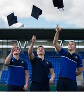 30 March 2016; Leinster Rugby stars, from left, Garry Ringrose, Josh van der Flier and Ross Molony at Donnybrook Stadium to mark the launch of the Bank of Ireland Leinster Rugby School of Excellence which will run in The King's Hospital School, Palmerstown in July and August. Go to http://www.leinsterrugby.ie/domestic/SoE/leinster_school_of_excellence.php for more information. Donnybrook Stadium, Donnybrook, Dublin. Picture credit: Brendan Moran / SPORTSFILE