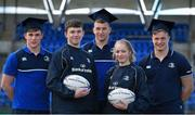 30 March 2016; Leinster Rugby stars, from left, Garry Ringrose, Ross Molony and Josh van der Flier are joined by Sean Dunne, age 16, Lansdowne FC, and Caoimhe Power, age 16, Navan RFC, at Donnybrook Stadium to mark the launch of the Bank of Ireland Leinster Rugby School of Excellence which will run in The King's Hospital School, Palmerstown in July and August. Go to http://www.leinsterrugby.ie/domestic/SoE/leinster_school_of_excellence.php for more information. Donnybrook Stadium, Donnybrook, Dublin. Picture credit: Brendan Moran / SPORTSFILE