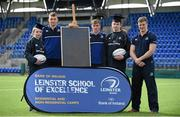 30 March 2016; Leinster Rugby stars, from left, Ross Molony, Garry Ringrose, Josh van der Flier are joined by Caoimhe Power, age 16, Navan RFC, and Sean Dunne, 2nd from right, 3rd from left, age 16, Lansdowne FC, at Donnybrook Stadium to mark the launch of the Bank of Ireland Leinster Rugby School of Excellence which will run in The King's Hospital School, Palmerstown in July and August. Go to http://www.leinsterrugby.ie/domestic/SoE/leinster_school_of_excellence.php for more information. Donnybrook Stadium, Donnybrook, Dublin. Picture credit: Brendan Moran / SPORTSFILE