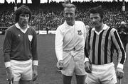 1 September 1974; Referee John Moloney, Tipperary, prepares to toss the coin in front of Limerick captain Sean Foley, left, and Kilkenny captain Nickey Orr. All-Ireland Senior Hurling Championship Final, Kilkenny v Limerick, Croke Park, Dublin. Picture credit; Connolly Collection / SPORTSFILE