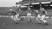 1 September 1974; Jim Tracey, left, Pat Henderson and Fan Larkin, right, Kilkenny, in action against Frankie Nolan, Limerick. All-Ireland Senior Hurling Championship Final, Kilkenny v Limerick, Croke Park, Dublin. Picture credit; Connolly Collection / SPORTSFILE