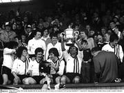 1 May 1977; Tommy McConville, Dundalk, lifts the cup after his side's 2-0 victory over Limerick. FAI Cup Final, Dundalk FC v Limerick FC, Dalymount Park, Dublin. Picture ciredit; Connolly Collection / SPORTSFILE