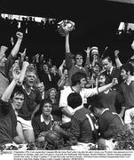 5 September 1976; Cork captain Ray Cummins lifts the Liam MacCarthy Cup after his side's victory over Wexford. Also pictured are GAA President Con Murphy, right, and Cork players, from left, Pat McDonnell, John Horgan, Martin O'Doherty, Martin Coleman, goalkeeper, Charlie McCarthy, 13, Denis Coughlan, 7, Gerald McCarthy and Brian Murphy. All Ireland Senior Hurling Championship Final, Cork v Wexford, Croke Park, Dublin. Picture credit; Connolly Collection / SPORTSFILE