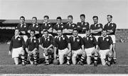 27 September 1959; The Galway team. Back row, from left, Mick Garrett, John Nallen, Mick Laide, Jack Kissane, Mattie McDonagh, Frank Evers, Joe Young and Mick Greally. Front row, from left, Séamus Colleran, Jimmy Farrell, Seán Meade, Seán Purcell, captain, Michael 'Hauleen' McDonagh, Jack Mahon and Frank Stockwell. All-Ireland Senior Football Championship Final, Kerry v Galway, Croke Park, Dublin. Picture credit: Connolly Collection / SPORTSFILE