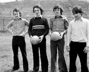 1973; Arsenal players from left, Liam Brady, Frank Stapleton, David O'Leary and John Murphy. Irish Arsenal players photocall, Dalymount Park, Dublin. Picture credit: Connolly Collection / SPORTSFILE