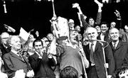 2 September 1973; Limerick captain Éamonn Grimes lifts the Liam McCarthy cup. Also in the picture is President Erskine Childers, far left, and Taoiseach Liam Cosgrave, far right. Kilkenny v Limerick, All Ireland Hurling Final, Croke Park, Dublin. Picture credit: Connolly Collection / SPORTSFILE