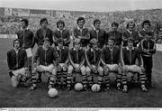28 September 1975; The Kerry team. Front row, from left, Denis Ogie Moran, Paudie O'Shea, Mikey Sheehy, Jimmy Deenihan, Mickey O'Sullivan, Pat McCarthy, Ger O'Keeffe and Leo Griffin. Back row, from left, Paudie Lynch, Paudie Mahony, Pat Spillane, Tim Kennelly, John O'Keeffe, John Egan, Brendan Lynch and Ger Power. All Ireland Senior Football Championship Final, Kerry v Dublin, Croke Park, Dublin. Picture credit; Connolly Collection / SPORTSFILE