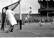 1965; Galway goalkeeper Johnny Geraghty ensures the ball goes wide during his side's victory over Kerry. National Football League Final, Galway v Kerry, Croke Park, Dublin. Picture credit; Connolly Collection / SPORTSFILE