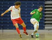 30 March 2010; Ross Zambra, Republic of Ireland, in action against Fredrik Hogas, Norway. International Futsal Friendly, Republic of Ireland v Norway, National Basketball Arena, Tallaght, Dublin. Picture credit: Paul Mohan / SPORTSFILE