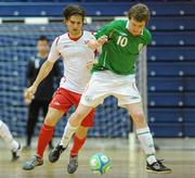 30 March 2010; Alan Lynch, Republic of Ireland, in action against Christoffer Dahl, Norway. International Futsal Friendly, Republic of Ireland v Norway, National Basketball Arena, Tallaght, Dublin. Picture credit: Paul Mohan / SPORTSFILE