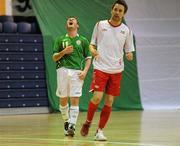 30 March 2010; Craig Duggan, Republic of Ireland, reacts after a missed opportunity alongside Henrik Arnesen, Norway. International Futsal Friendly, Republic of Ireland v Norway, National Basketball Arena, Tallaght, Dublin. Picture credit: Paul Mohan / SPORTSFILE