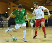 30 March 2010; Tony Kane, Republic of Ireland, in action against Fredrik Hogas, Norway. International Futsal Friendly, Republic of Ireland v Norway, National Basketball Arena, Tallaght, Dublin. Picture credit: Paul Mohan / SPORTSFILE
