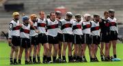 5 May 2001; The Gort Community School team stand together for the national anthem, Gort Community School v St Colman's, Fermoy, All-Ireland Colleges Senior 'A' Hurling Final, Croke Park, Dublin. Hurling. Picture credit; Ray McManus / SPORTSFILE
