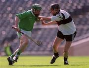 5 May 2001; Andrew O'Shaughnessy, (right) Gort Community School in action against Richard Murphy, St. Colman's Fermoy, Gort Community School v St Colman's, Fermoy, All-Ireland Colleges Senior 'A' Hurling Final, Croke Park, Dublin. Hurling. Picture credit; Ray McManus / SPORTSFILE