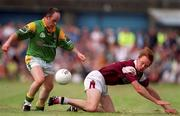 20 May 2001; Gareth Foley, Leitrim in action against Lorcan Colleran, Galway, Galway v Leitrim, Bank of Ireland Connacht Football Championship, Tuam Stadium, Tuam, Co. Galway. Picture credit; Brendan Moran / SPORTSFILE