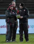 30 March 2016; Tyrone manager Brian Dooher, right, along with selector Peter Canavan, left, and selector  Feargal Logan,  EirGrid Ulster GAA Football U21 Championship, Semi-Final, Tyrone v Donegal, Celtic Park, Derry. Picture credit: Oliver McVeigh / SPORTSFILE