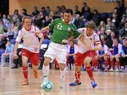 31 March 2010; Alan McCabe, Republic of Ireland, in action against Thomas Saether, right, and Stian Kristofferson, Norway. International Futsal Friendly, Republic of Ireland v Norway, National Basketball Arena, Tallaght, Dublin. Picture credit: Matt Browne / SPORTSFILE