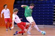 31 March 2010; Tony Kane, Republic of Ireland, in action against Thomas Saether, Norway. International Futsal Friendly, Republic of Ireland v Norway, National Basketball Arena, Tallaght, Dublin. Picture credit: Matt Browne / SPORTSFILE