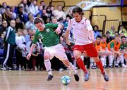31 March 2010; Ross Zambra, Republic of Ireland, in action against Christoffer Dahl, Norway. International Futsal Friendly, Republic of Ireland v Norway, National Basketball Arena, Tallaght, Dublin. Picture credit: Matt Browne / SPORTSFILE