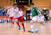 31 March 2010; Mark Langtry, Republic of Ireland, in action against Christoffer Dahl, Norway. International Futsal Friendly, Republic of Ireland v Norway, National Basketball Arena, Tallaght, Dublin. Picture credit: Matt Browne / SPORTSFILE