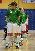 31 March 2010; The Republic of Ireland team stand for the National Anthem. International Futsal Friendly, Republic of Ireland v Norway, National Basketball Arena, Tallaght, Dublin. Picture credit: Matt Browne / SPORTSFILE