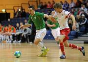 31 March 2010; Philip McDonagh, Republic of Ireland, in action against Thomas Saether, Norway. International Futsal Friendly, Republic of Ireland v Norway, National Basketball Arena, Tallaght, Dublin. Picture credit: Matt Browne / SPORTSFILE