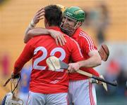 4 April 2010; Cork player Jerry O'Connor celebrates with team-mates Kieran Murphy, 22, and Cathal Naughton after the final whistle. Allianz GAA Hurling National League Division 1 Round 6, Cork v Tipperary, Pairc Ui Chaoimh, Cork. Picture credit: Matt Browne / SPORTSFILE