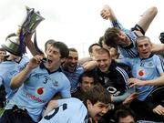 4 April 2010; Dublin players celebrate with the cup after the game. Cadbury Leinster GAA Football Under 21 Championship Final, Dublin v Westmeath, Parnell Park, Dublin. Picture credit: Daire Brennan / SPORTSFILE