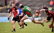 3 April 2016; Jason Doherty, Mayo, in action against Gerard Collins, left, and David McKibbin, Down. Allianz Football League Division 1 Round 7, Mayo v Down. Elverys MacHale Park, Castlebar, Co. Mayo. Picture credit: David Maher / SPORTSFILE