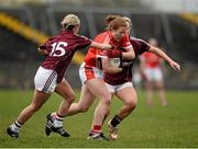 3 April 2016; Rena Buckley, Cork, in action against Edel Concannon, left, and Megan Glynn, Galway. Lidl Ladies Football National League Division 1, Galway v Cork. St Jarlath's Stadium, Tuam, Co. Galway. Picture credit: Sam Barnes / SPORTSFILE